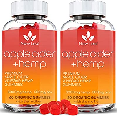(2-Pack) Gummies for Stress & Relaxation with Apple Cider – 3000mg - ACV - Great for Stress & Anxiety Management – Made in USA – Tasty & Relaxing Gummies – 120ct by New Leaf