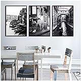 wzgsffs Pintura de la Lona de la habitación Barco de la Ciudad de Venecia en Blanco y Negro en el Lago Hotel Villa Cafe Decoración Pintura Arte de la pared-16X24 * 3P Pulgadas Sin Marco
