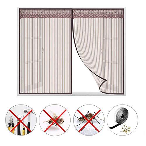 Magnetische vliegenbescherming, voor venstermakers, voor het stoppen van insecten, gordijn binnen, raambescherming met plakband – koffie 180x180cm(71x71inch)