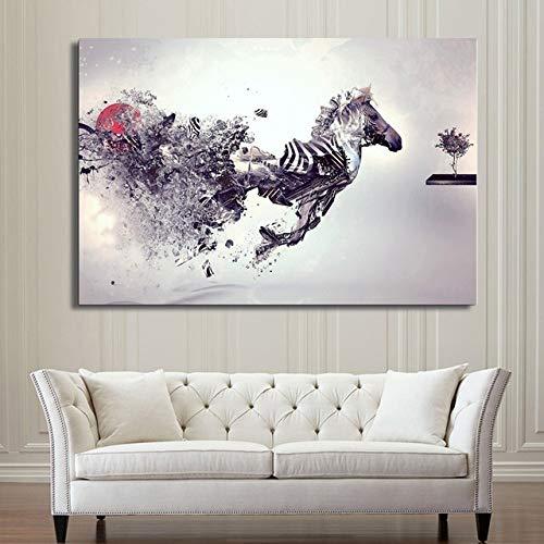N / A Pentium Horse Wall Art Canvas Painting Abstract Poster and Print Animal Wall Pictures para Decorar la Sala de Estar Dormitorio sin Marco 60x80cm