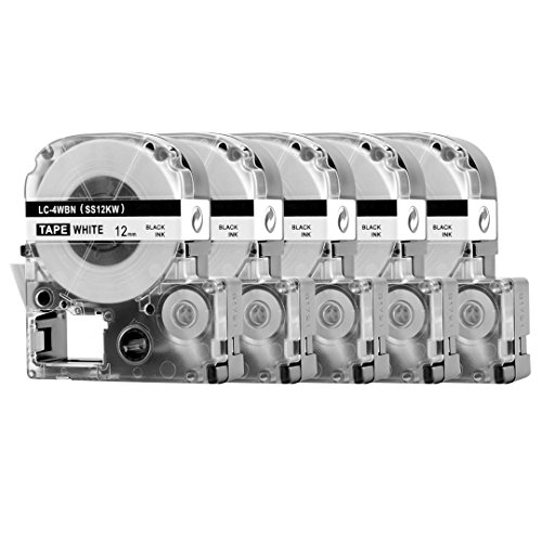 5 Pack Replace LK-4WBN LC-4WBN9(SS12KW) Label Tapes for Epson LabelWorks LW300 LW400 LW500 LW700 Black on White 1/2 Inch X 26.2 Feet(12mm x 8M),Read Comments If You Worry About Low-Scale Reviews! Photo #6