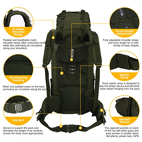 Mardingtop 65L Molle Hiking Internal Frame Backpacks with Rain Cover Army Green-65L