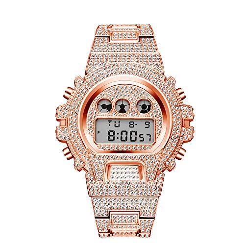 Reloj de diamantes multifunción Relojes luminosos de Hip Hop Relojes helados con pulsera de aleación