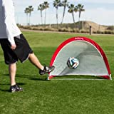 GoSports Portable Pop-Up Soccer Goal (Set of 2), Red/White, 4'