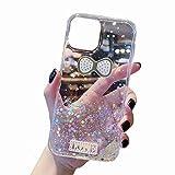 TYWZ Funkeln Handyhülle für Xiaomi Mi 10T,Klar Diamant Glitzer Bling Star Schutzhülle Mädchen Frauen Soft TPU Crystal Hülle-Liebe Krawatte,Transparent