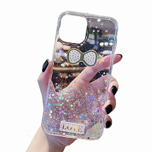 TYWZ Brillant Coque pour iPhone 6S/6,Silicone Glitter Sparkle Étoile Bling Transparent Cover Gel Soft Etui Flexible Case pour Fille Femmes-l'amour Nouer,Clair