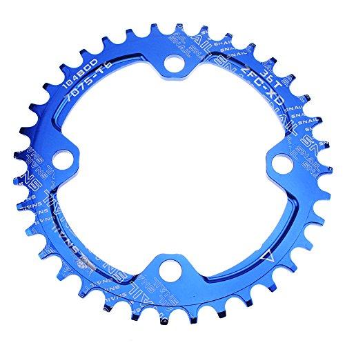 CYSKY Schmal Breit Kettenblatt 104 BCD 36T Bike Single Kettenblatt für 9 10 11 Speed Road Bike Mountain Bike BMX (Blau)