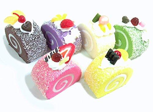 食品 サンプル パン スイーツ ディスプレイ リアル 見本 食玩 セット (ロールケーキ 6個セット)