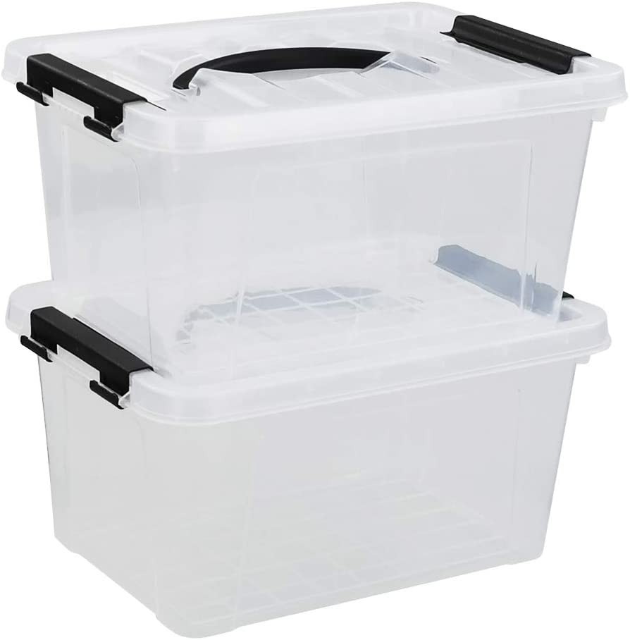 Obston 6 Quart Stackable Clear Plastic Bins Credence Tucson Mall Storage with Lids M