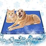 Kühlmatte Hunde Katzen 90 x 50cm,Kuhlmatte für Hund & Katze mit Ungiftiges Gel,Haustier Eismatte Selbstkühlende Matte Hunde Kühl Hundedecke Kaltgelpad,Haustier Kühlmatte für Kisten,Zwinger und Betten