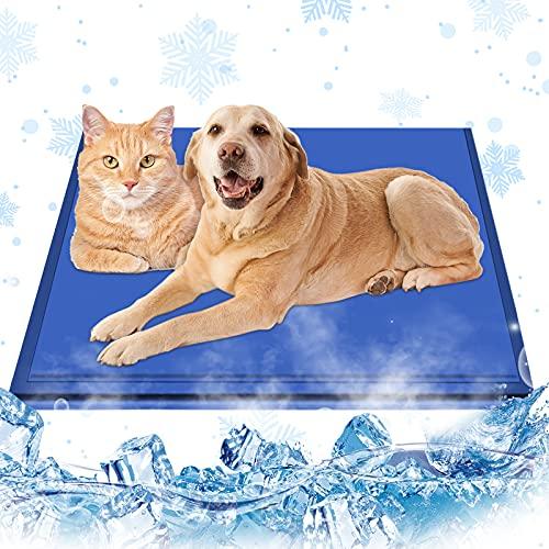 Esterilla de refrigeración para perros y gatos 90 x 50 cm, con gel no tóxico, esterilla hielo mascotas, perros, manta frío, cajas, perreras camas