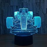 FZAI Lámpara con diseño coche de carreras, 7 colores, interruptor táctil, luz led de noche para niños, regalo, juguete