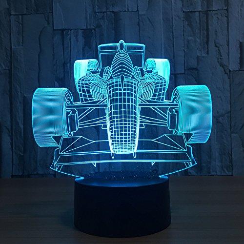 Benbroo Afstandsbediening Lamp 3D Visual Led USB Bureau Nachtlampje 7 Kleuren met Telecontroller F1 Equation Racing Auto Op Acryl Board Voeding Micro USB/3 x AAA Batterij.