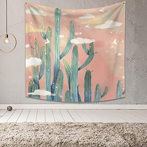 Yongto 59.1x59.1 Inches Cactus Tapestry Wall Hanging Green Plants Tapestry Watercolor Saguaro Succulent Plants Tapestry for Bedroom Living Room Home Decor