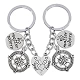 Freessom Porte Clé/Clef Amitie pour 2 Best Friends No Matter Where Coeur Separable Drole Original Ensemble Accessoire de Sac Voiture Pas Cher Cadeau Chérie pour Anniversaire (Argent 1)