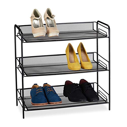 Relaxdays scarpiera da ingresso, 3 ripiani a maglia, scaffale in acciaio, max. 9 paia, calzature, 59,5x62x29,5 cm, nero.