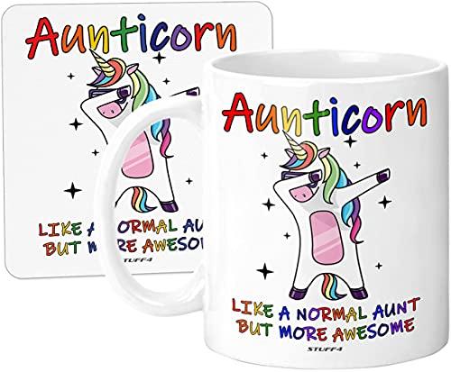 Auntie Gifts - Aunticorn Mug & Coaster Set, 11oz Ceramic Auntie Unicorn...