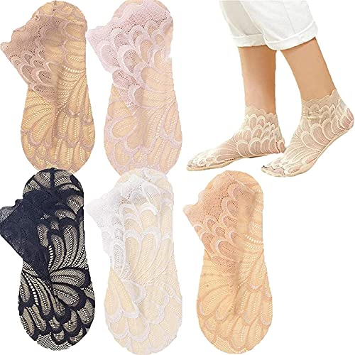 ZDDO Crystal Peacock Sock, Amazing Crystal Lace Socks, Hollow Out Ultra-Thin Lace Women's Ankle Socks 5pcs Gemischte Farbe