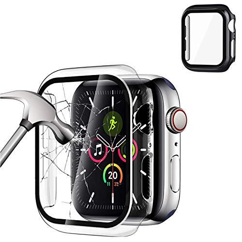 Dweyka [2 Pack] Protector de Pantalla para Apple Watch 40mm 44mm Serie SE 6 5 4,PC Funda + Cristal Templado, Protección Completo Anti-Rasguños Case para Nueva iWatch Series 5 4-Negro + Transparente