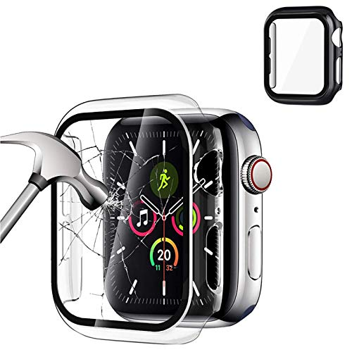 2 Pack Cover Compatible with Apple Watch 40 mm/44 mm Serie 5 / Serie 4, Protezione Vetro TemPerato Integrata, protezione completa anti-graffio Case per nuovo iWatch Series 5/4