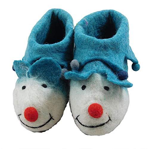 musimon Lustige Schuhe Hausschuhe Filzschuhe Kinder 100% Wolle (26/27 EU, türkis)