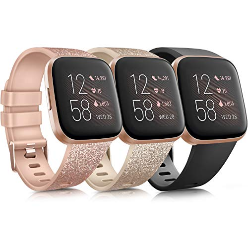 Yandu Cinturino Compatibile con Fitbit Charge 3/ Fitbit Charge 4, Cinturino Sportivi per Fitbit Charge 3/ Fitbit Charge 3 SE (#Flash Oro Rosa+Flash Oro+Nero, S)