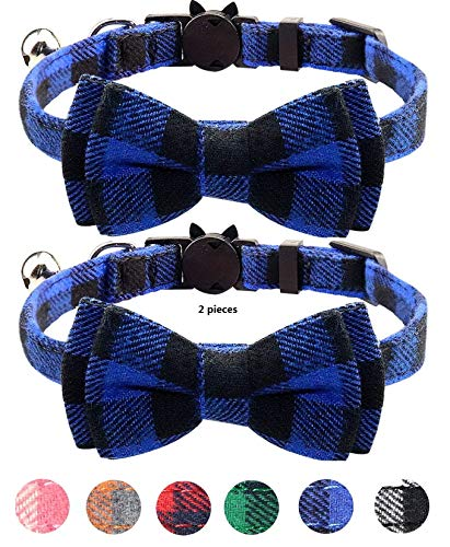 Quick Release Cat Collar with Bell and Bow Tie, Cute Plaid Patterns, 2 Pack...