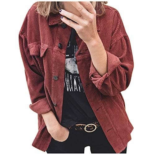 VEKDONE Womens Oversized Corduroy Jackets Casual Long Sleeve Loose Button Down Shirt Plus Size Jackets Tops(Wine Red,Medium)