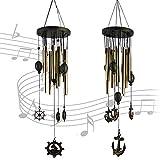 Senteen Campanelli Eolici Tubolari, 2pcs Bellissimi Scacciapensieri da Appendere Legno Carillon Vento Musica Ideale Come Decorazione per Esterni e Giardino