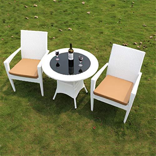 QILIN Set de Comedor Muebles de Ratán, 2 + 1 Silla de Mesa Rattan White con Diseño Cómodo y Uso Duradero Sala de Estar Al Aire Libre y Mesa de Centro - No con Tapete