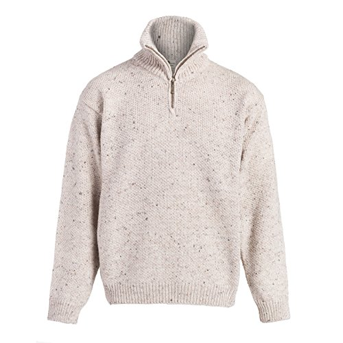 Boyne Valley Knitwear Mens Zip Neck Merino Wool Sweater (Medium)