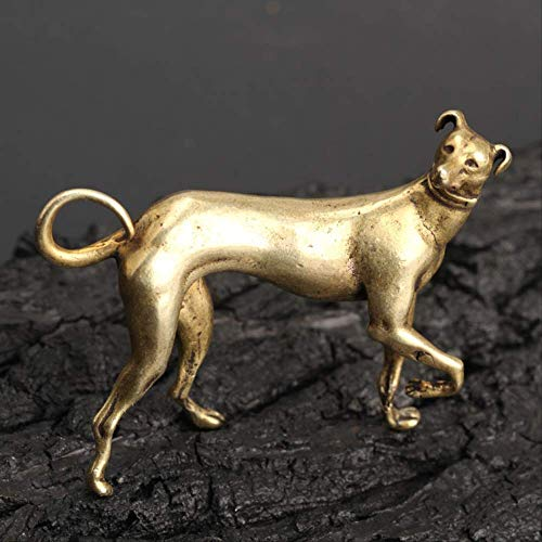 LBSST Solid Brass Wealth Dog Keychains Pendant Vintage Copper Loyalty Animal Keychain Bag Charm Car Key Rings Holder Gifts Accessories