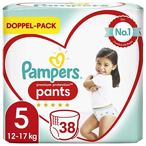 Pampers Pañales protectores de Pampers, tamaño 5, 38 unidades, 12 kg - 17 kg, comodidad y protección con los pañales Pampers para facilitar su colocación.