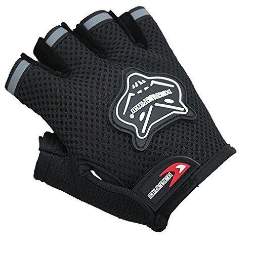 Mumustar Mens Cycling Gloves Gel Half Finger Non Slip For Bike Bicycle Lovers Shock-Absorbing Breathable Mesh Compression Support Mittens (Black)