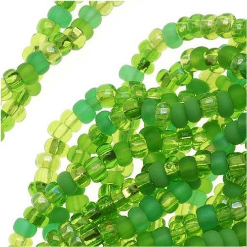 Jablonex Czech Glass Seed Beads, 11/0 Round, 1 Hank, Lime Green Peridot Mix