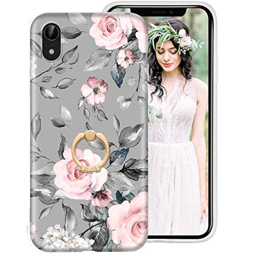 iPhone Xr Case for Girls Women, iDLike Floral Flower Cute Design Soft Silicone Protective Phone Case Cover with Ring Holder Kickstand for Apple iPhoneXr 6.1 2018