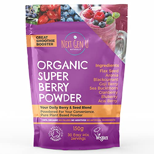 Organic Super Berry Powder 150g - Featured in The Vegan Magazine   Vegan Superfood Blend Supplement  Includes Goji, Flax Seed, Blueberry, Acai  Vegan Society and Soil Association Certified