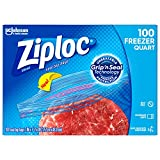 Ziploc Freezer Bags with New Grip 'n Seal Technology, Quart, 100 Count