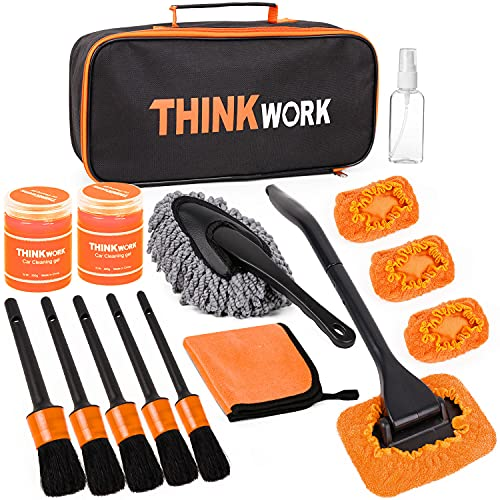 THINKWORK Car Detail Duster Kit-16PCS, Perfect Car Dust Removal Kit Interior and Exterior,Detailing Brush,Cleaning Gel,Car Window Brush,Duster Brush,Coral Fleece Cleaning Towels and Cleaning Pads.
