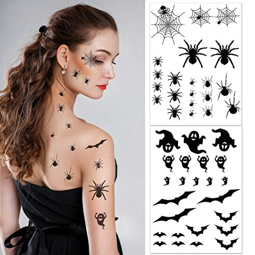 VEYLIN 135 Pieces Halloween Tattoo Sticker Removable Fake Spider Bat Tattoo Temporary Cosplay Party Decoration for Children (6 sheets)