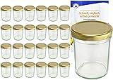 Set da vasetti da 230ML alto Deckel Colore Oro to 66con diamante gelier zauber ricettario, Marmellata, barattoli, barattoli, Occhiali