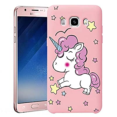 ZhuoFan Funda Samsung Galaxy J7 2016, Cárcasa Silicona Rosa con Dibujos Diseño Suave Gel TPU Antigolpes de Protector Piel Case Cover Bumper Fundas para Movil Samsung GalaxyJ7, Unicornio 01
