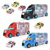 AAAHHH Coches De Juguete, 21 Vehículos De Transporte, Camiones De Juguete, Vehículos, Juguetes para Niños, Juegos De Coches De Juguete para Niños Y Niñas (Incluidos 3 Camiones Grandes, 18 Coches)