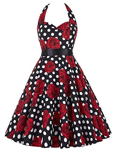 Women Polka Dot Vintage Dresses 1950 s Red (M, 19, TS6075)