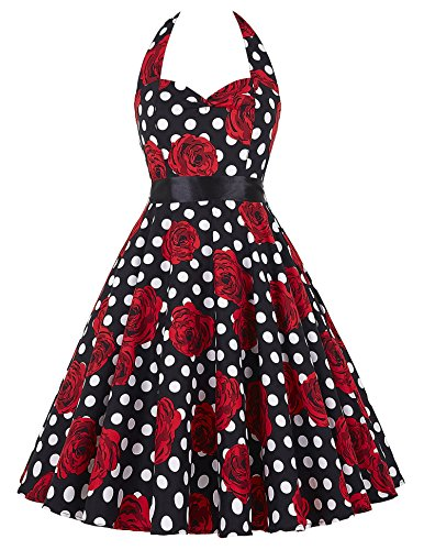 Women Polka Dot Vintage Dresses 1950 s Red (M, 19, TS6075)