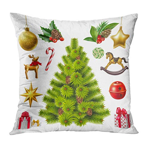 Menmek Throw Pillow Cover Print Christmas Trees Gifts Realistic Tree with Toys Symbols 16 x 16 Inch Pillow Case Home Car Sofa Office Meeting Room Decor Cushion Pillowcase Gift