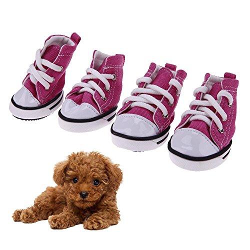 Domybest - 4 zapatos de perro en tejido vaquero antideslizantes impermeables, con diseño de zapatillas deportivas