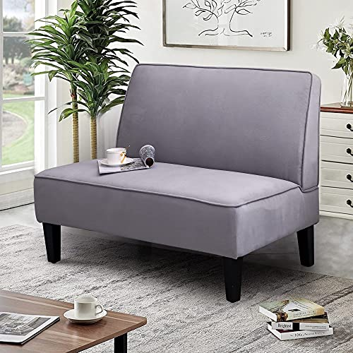 Linen Loveseat Sofa Couch Upholstered Small Loveseat for Bedroom Armless Living Room Chairs Cushioned 2-Seater Settee loveseat (Light Gray)