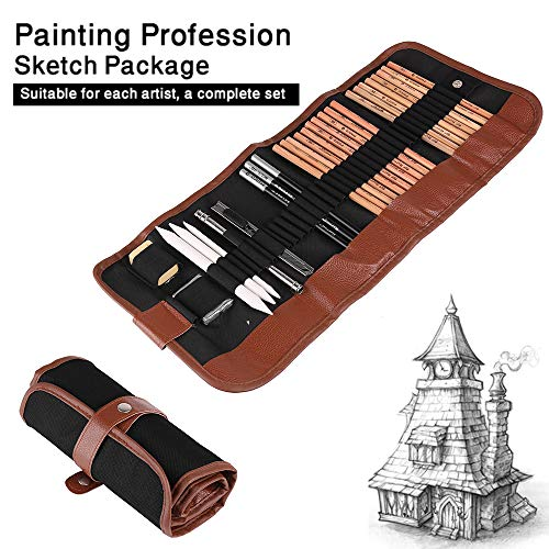 Powstro K Sketching Pencil Set,18pcs Pen Charcoal Sketch Set Roll Up Canvas Carry Pouch of Pencils Eraser Craft Knife Pencil Extender 29pcs Total for Beginners Artist