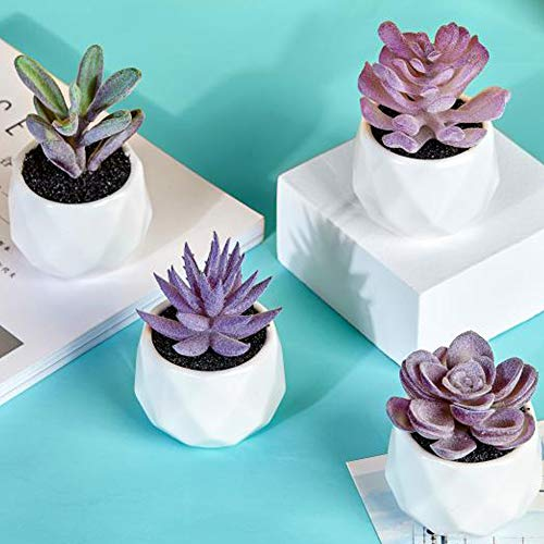 Artificial Succulent Plants,Fake Succulents Small Plants in White Ceramic Potted for Indoor Decor Office Room Desk Decoration(4 Pots